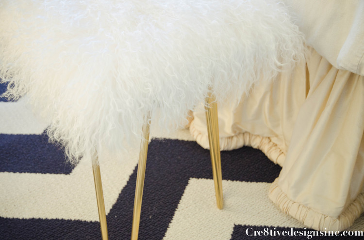 Curly brass hairpin bench