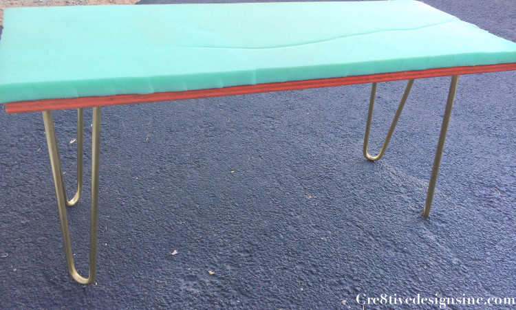attaching foam to make a bench