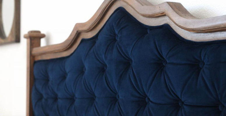 DIY blue tufted headboard