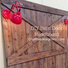 A Barn door headboard with lights