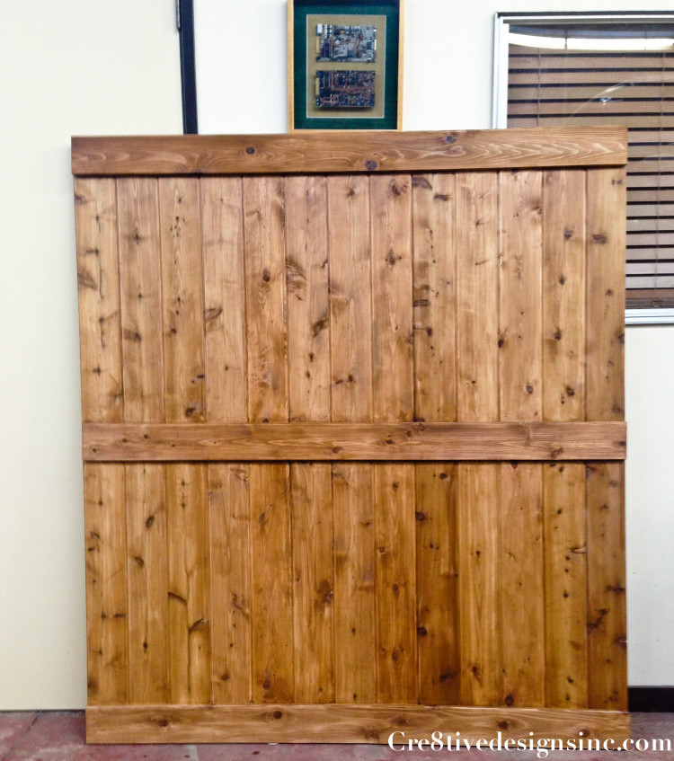 Barn door headboard with lights-6