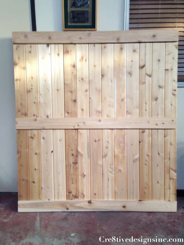 Barn door headboard with lights