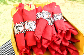 Monster Truck Party Tools wrapper for utensil