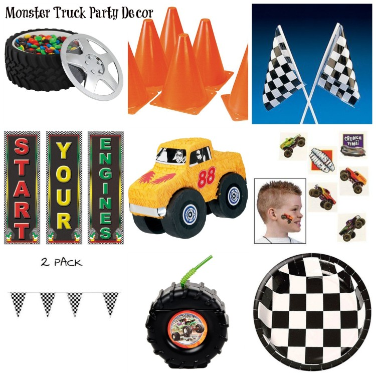 monster truck party decor
