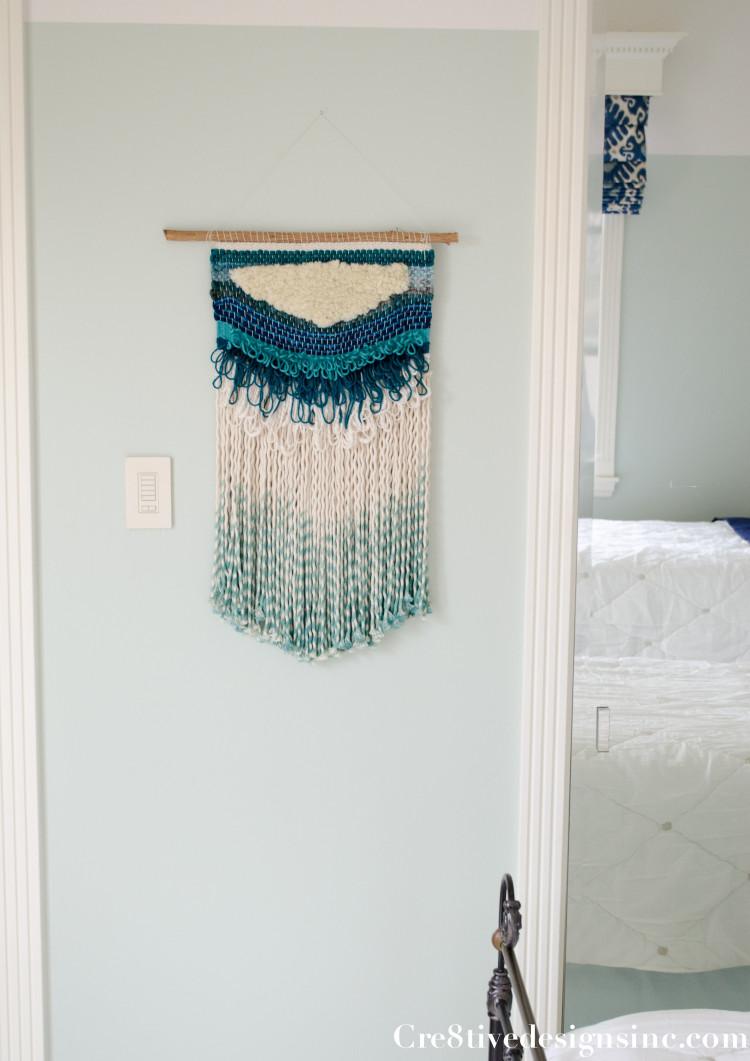 aqua woven texile wall hanging