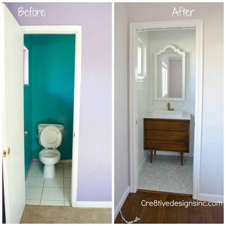 Before and after tiny bathroom