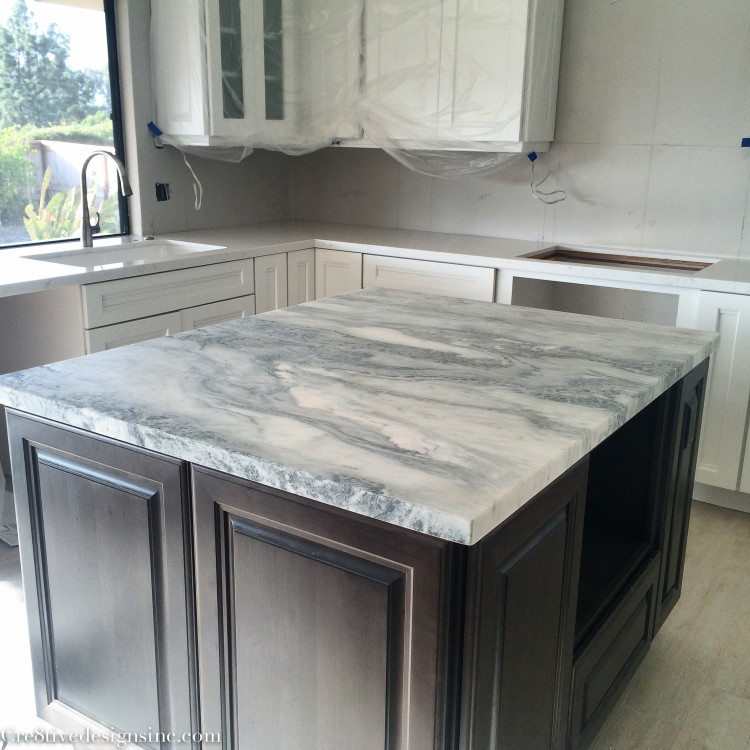 Honed marble island top
