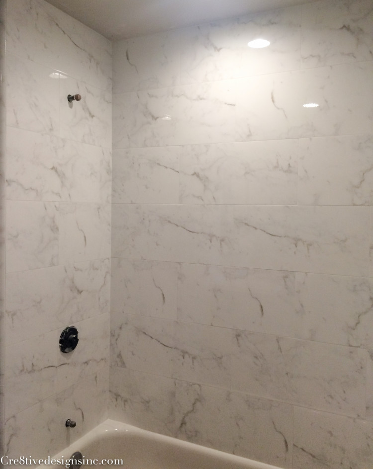 Calcutta marble look tiles
