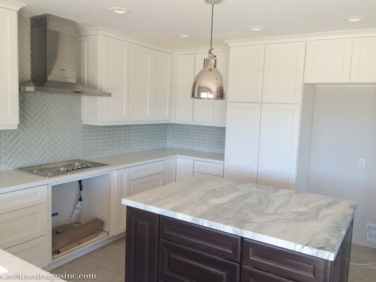 Honed marble kitchen island