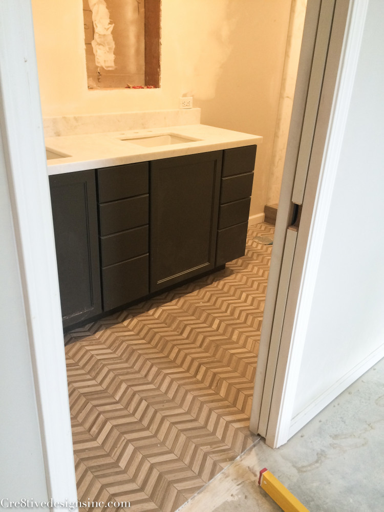 Herringbone bathroom floors