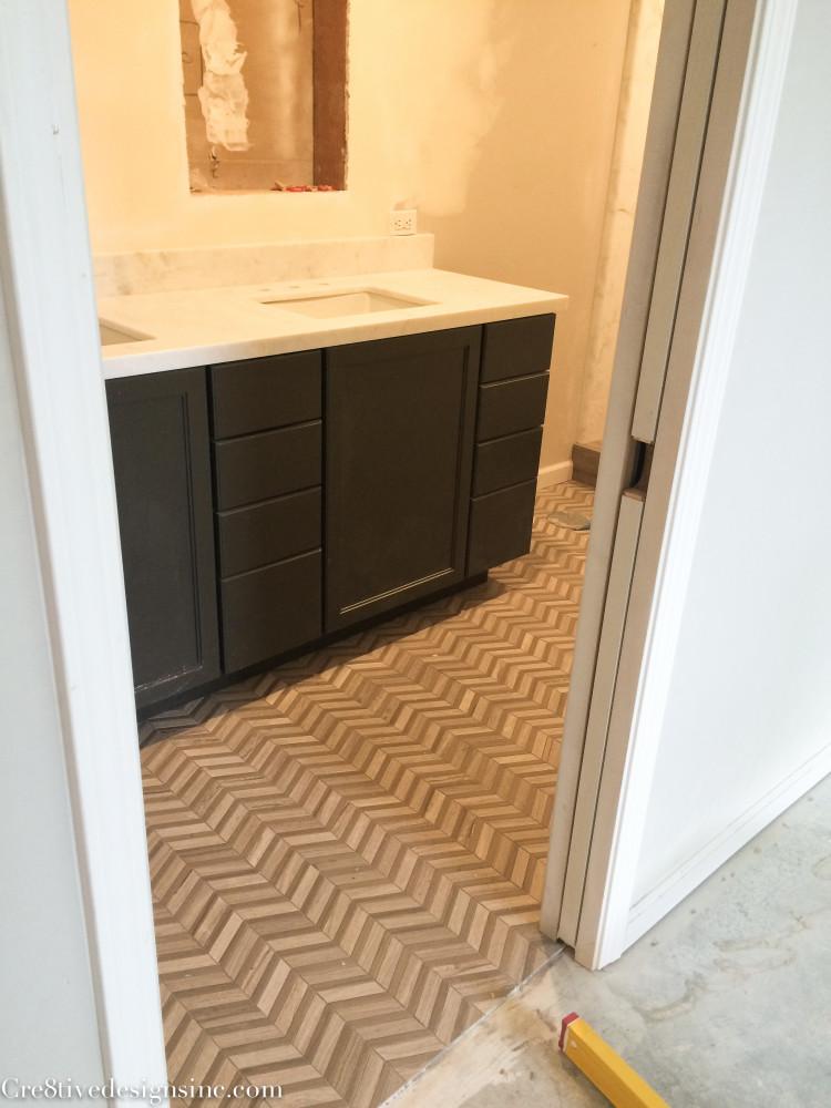 Herringbone bathroom floors