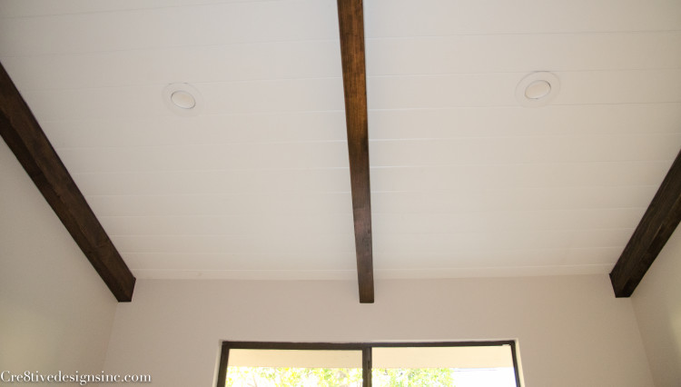 tongue and groove with wood beams