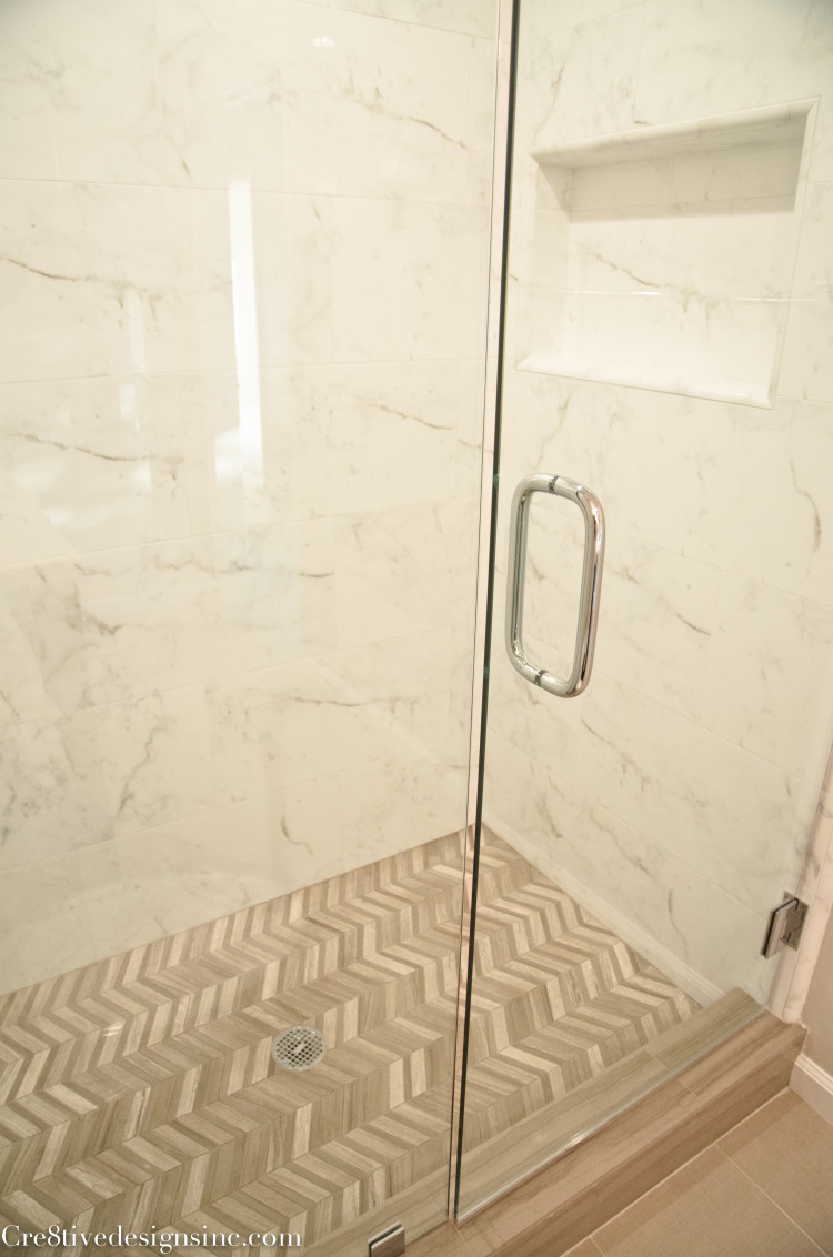 herringbone shower floor