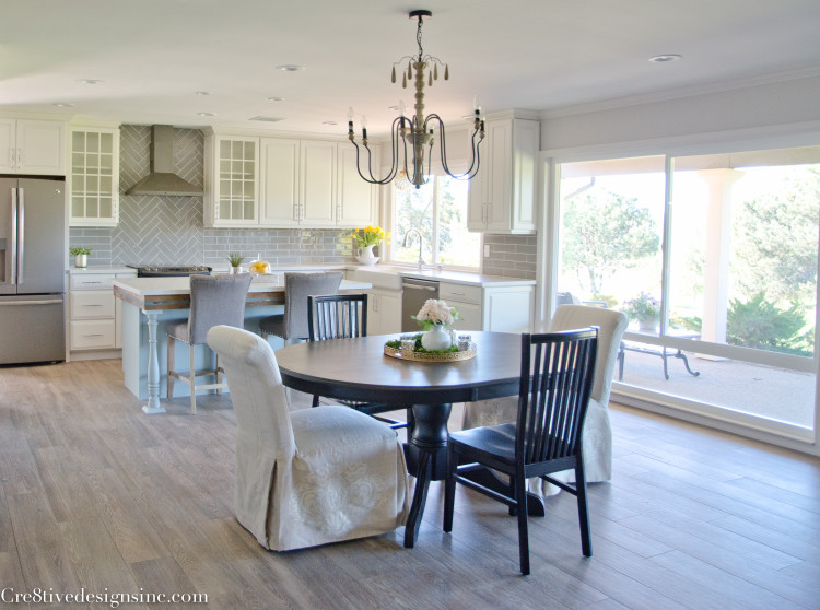 open living, dining and kitchen space