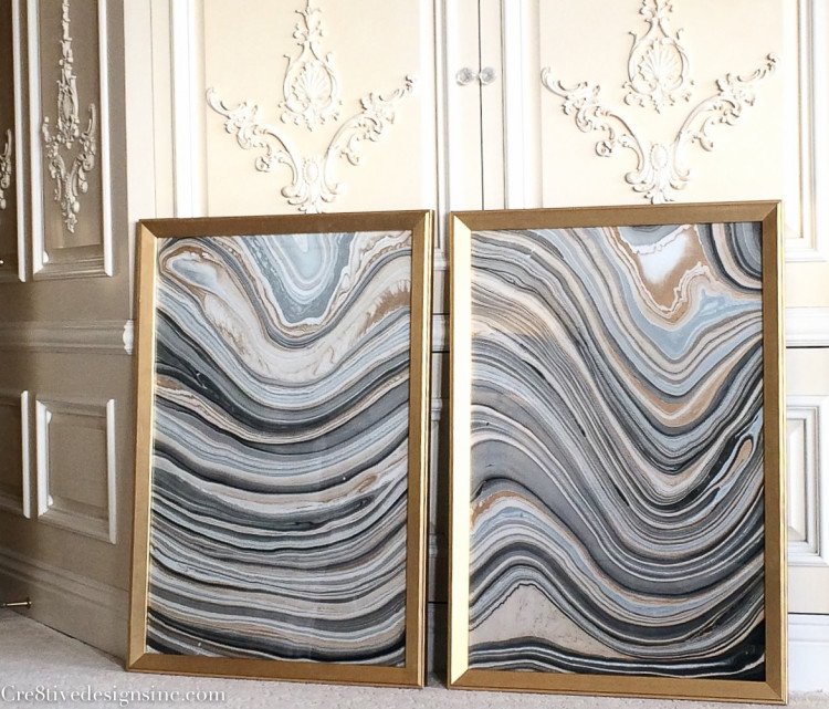 Marble artwork paper in gold frames