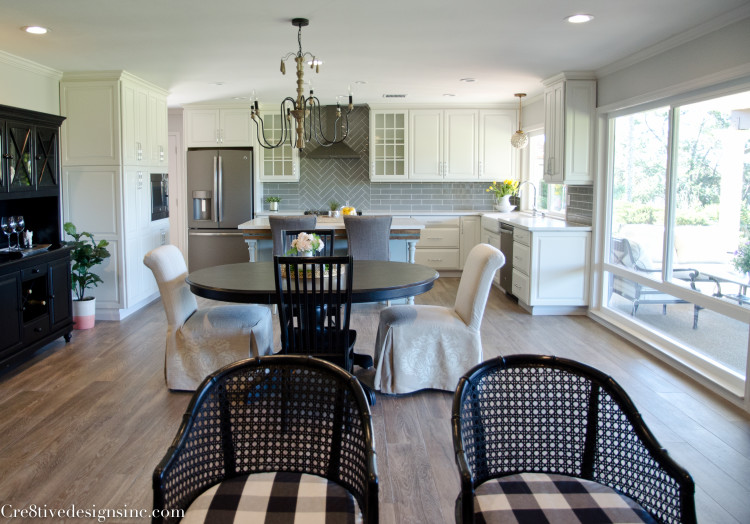 remodel with porcelain wood plank flooring