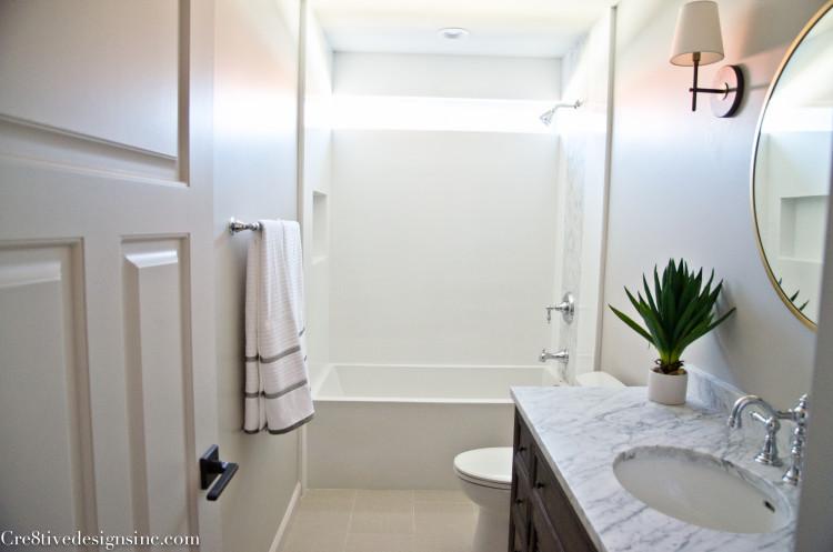 Bathroom remodel using restoration hardware vanity and mirabelle chrome faucet