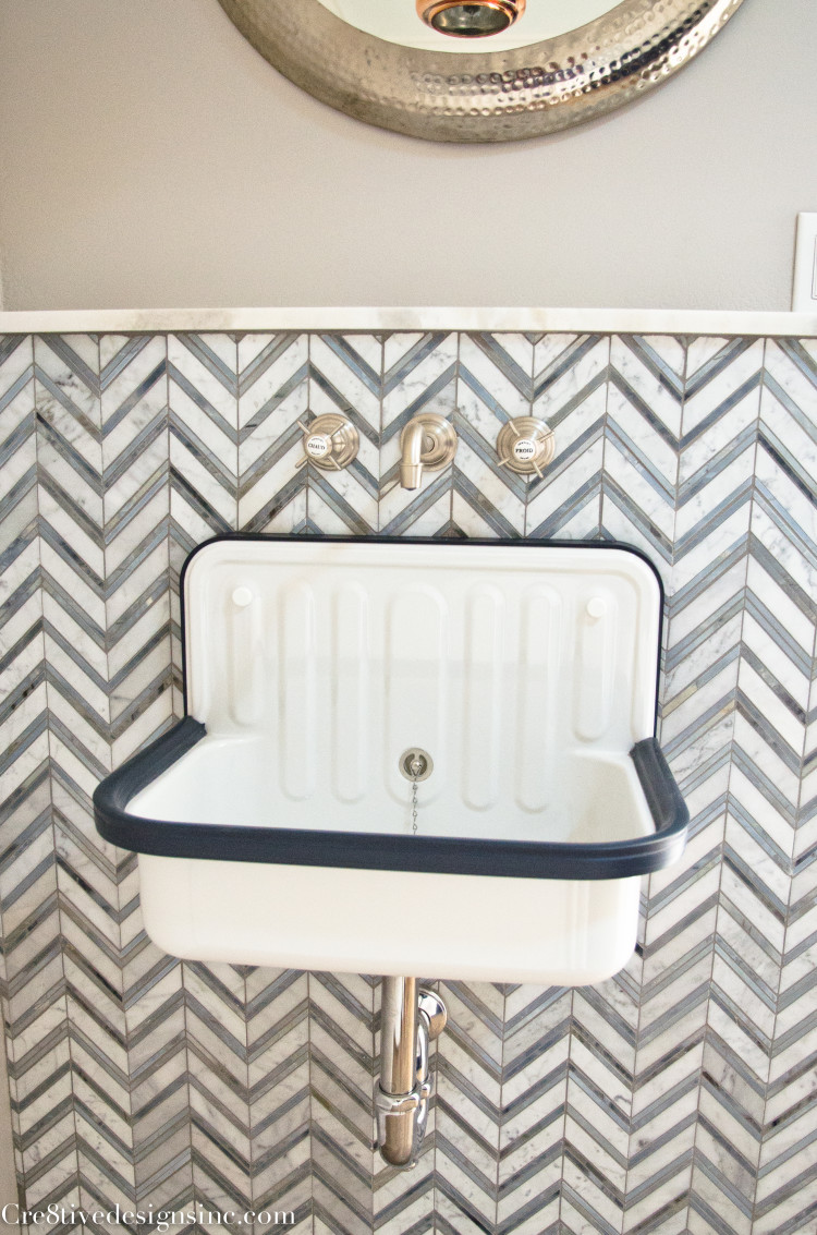 navy, white and chevron laundry room