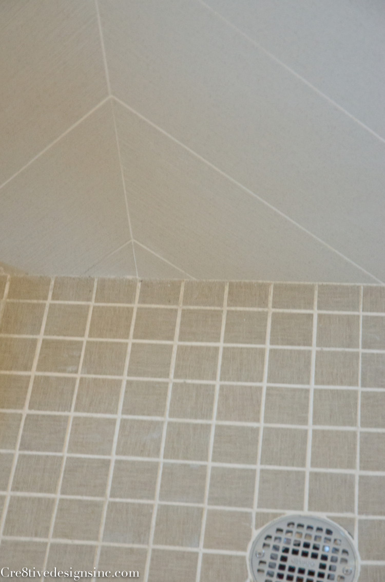 large chevron shower tile