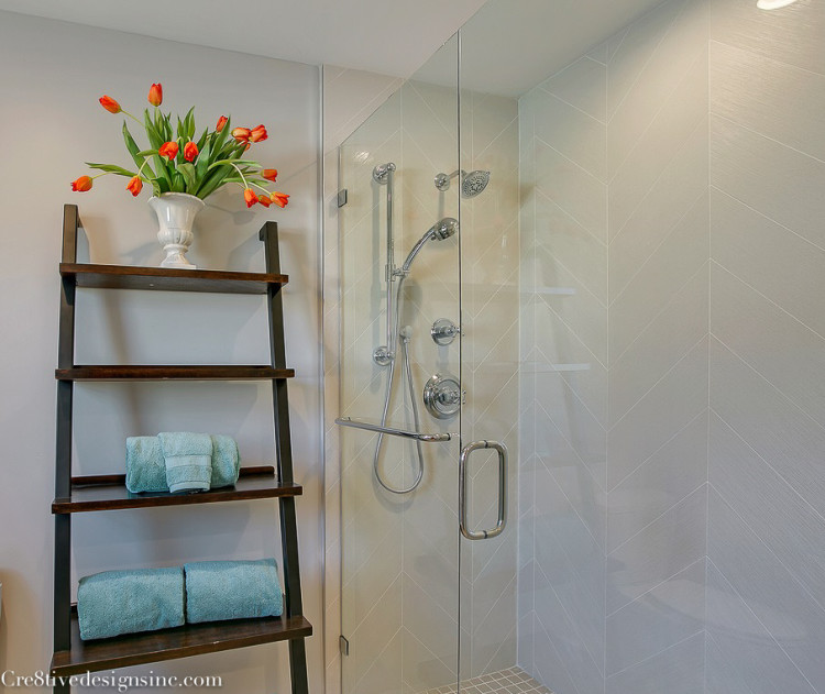 large chevron wall tile in the shower