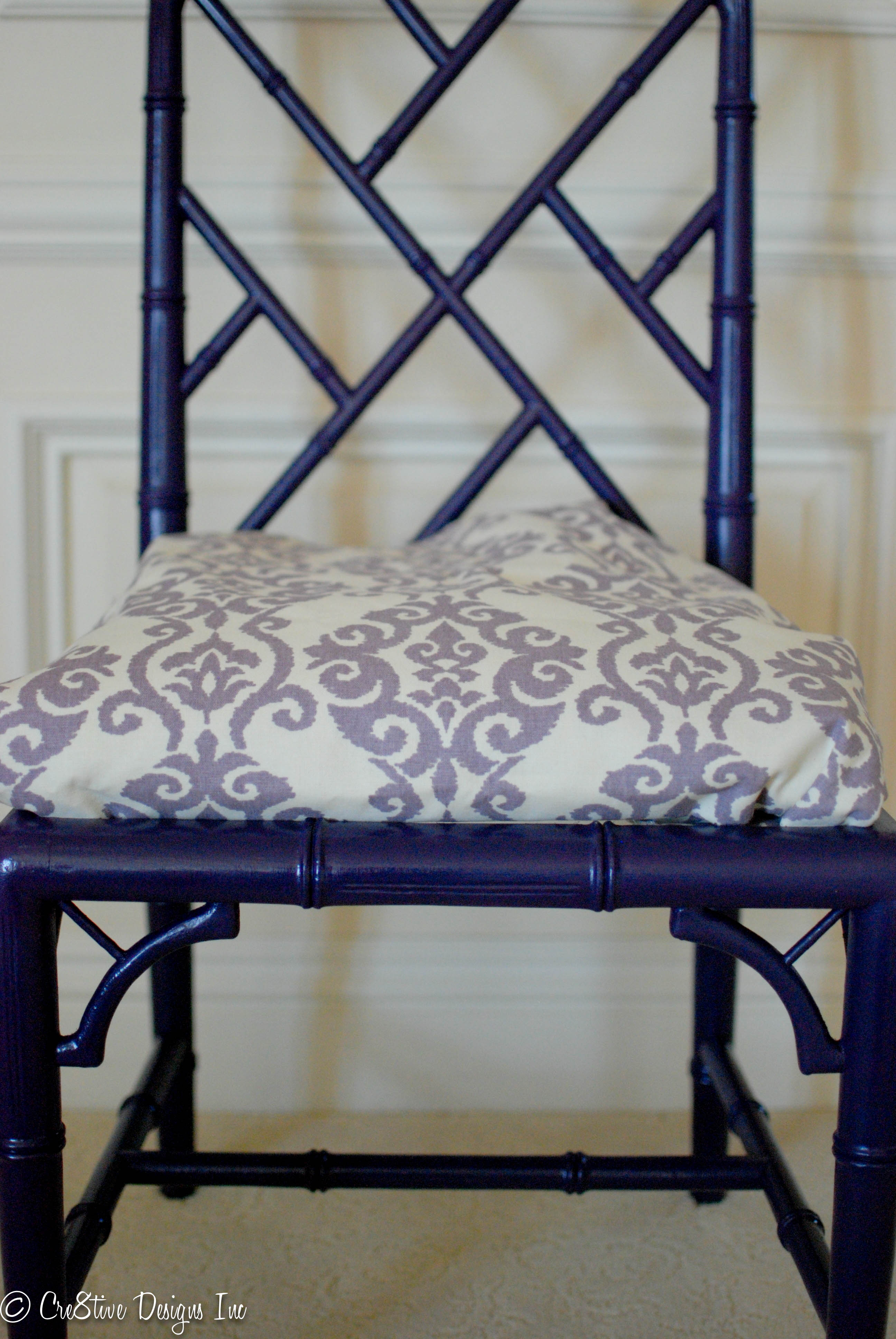 Bamboo chippendale chairs - Purple Faux Bamboo Chair With A Lavender Damask Print