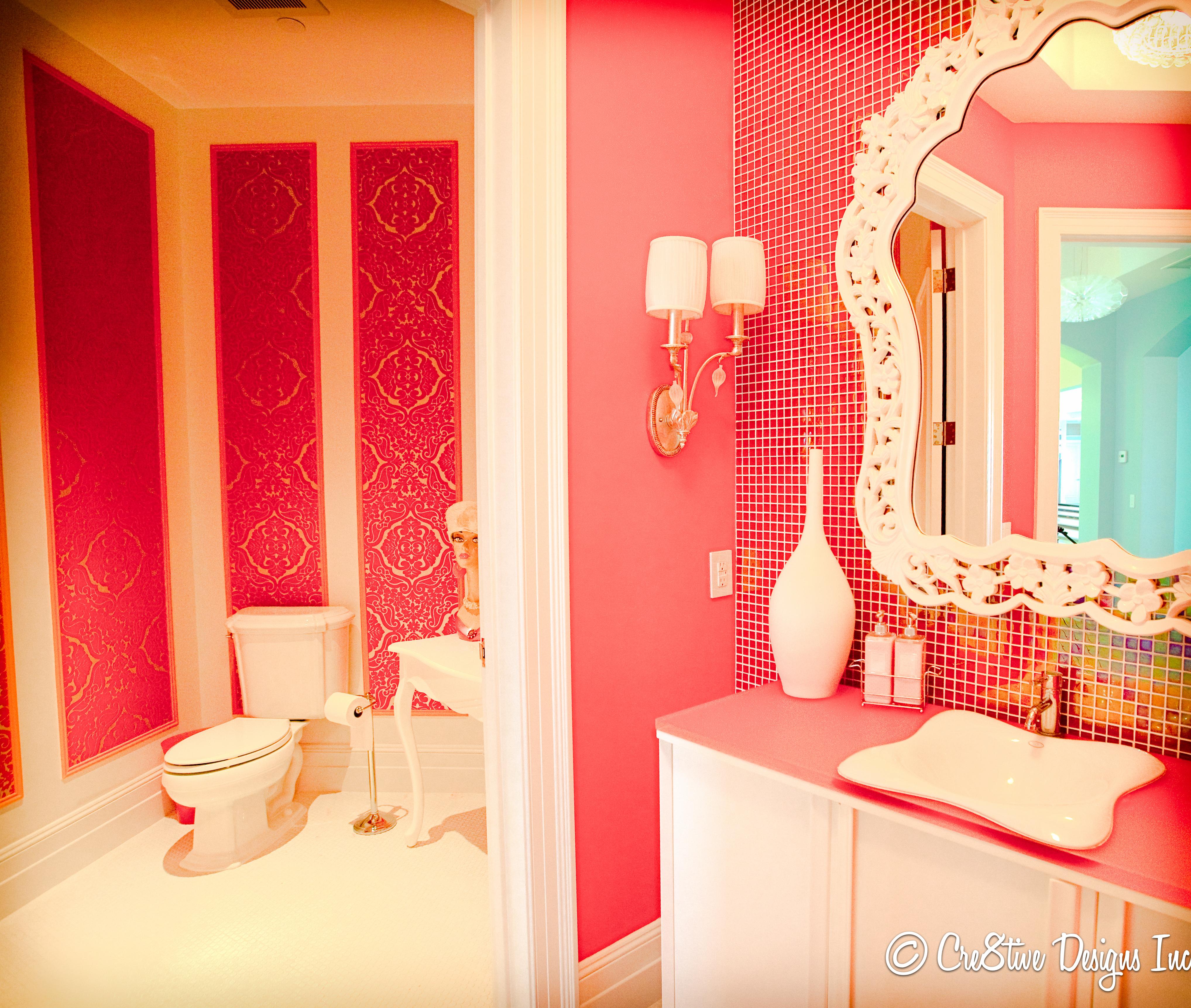 Cheap bathroom wallpaper - Hot Pink Bathrooms But Of Course It Wasn T Cheap