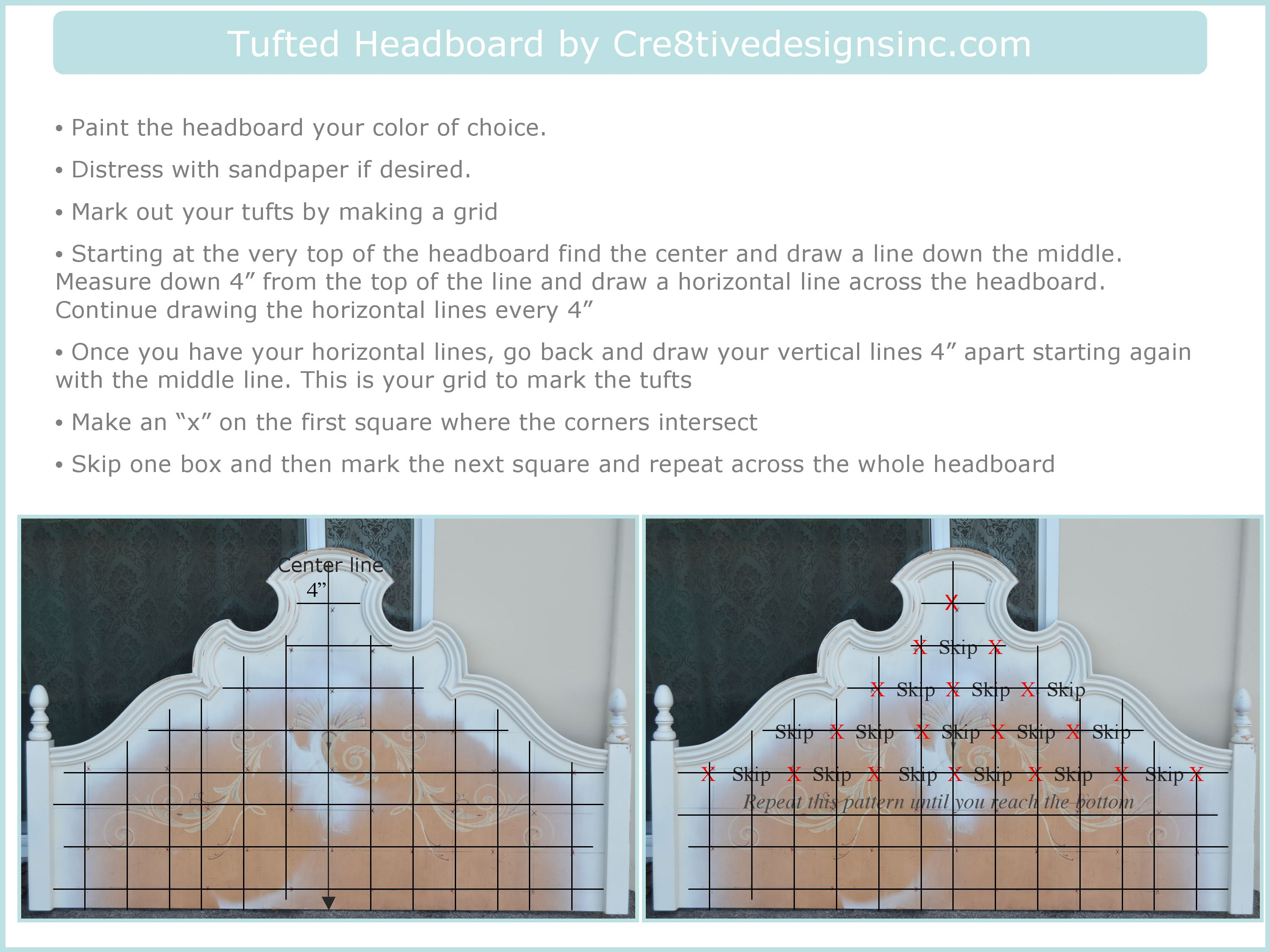Tutorial on how to make the tufted headboardCre8tive Designs Inc.