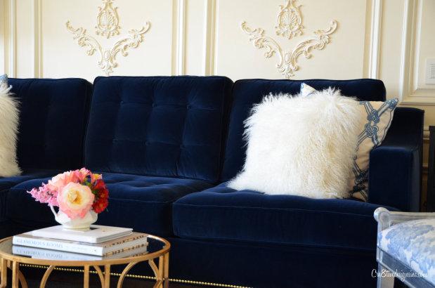 Blue velvet tufted sofa - Navy Blue Tufted Sofa - Cre8tive Designs Inc.