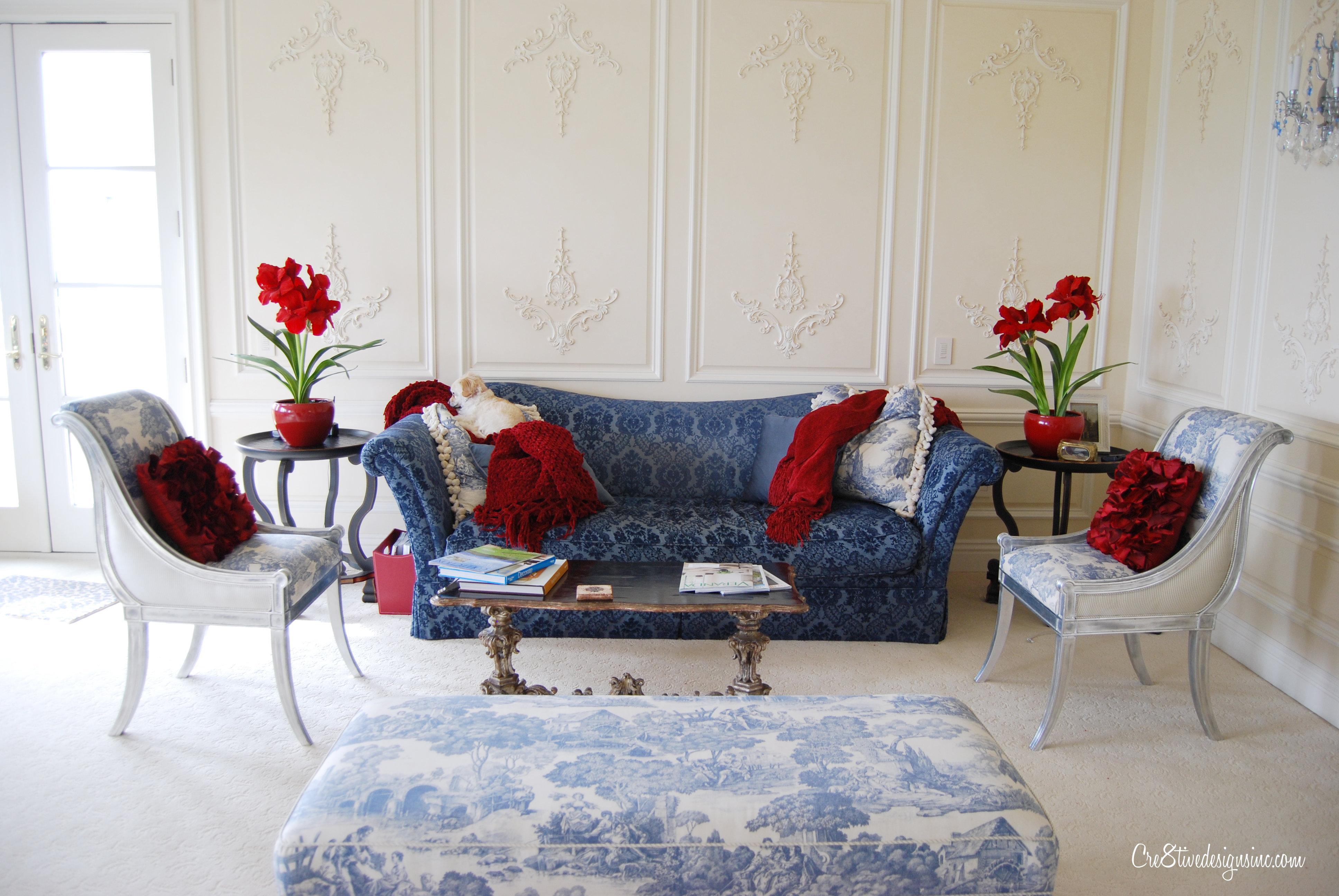 Navy blue tufted sofa Cre8tive Designs Inc