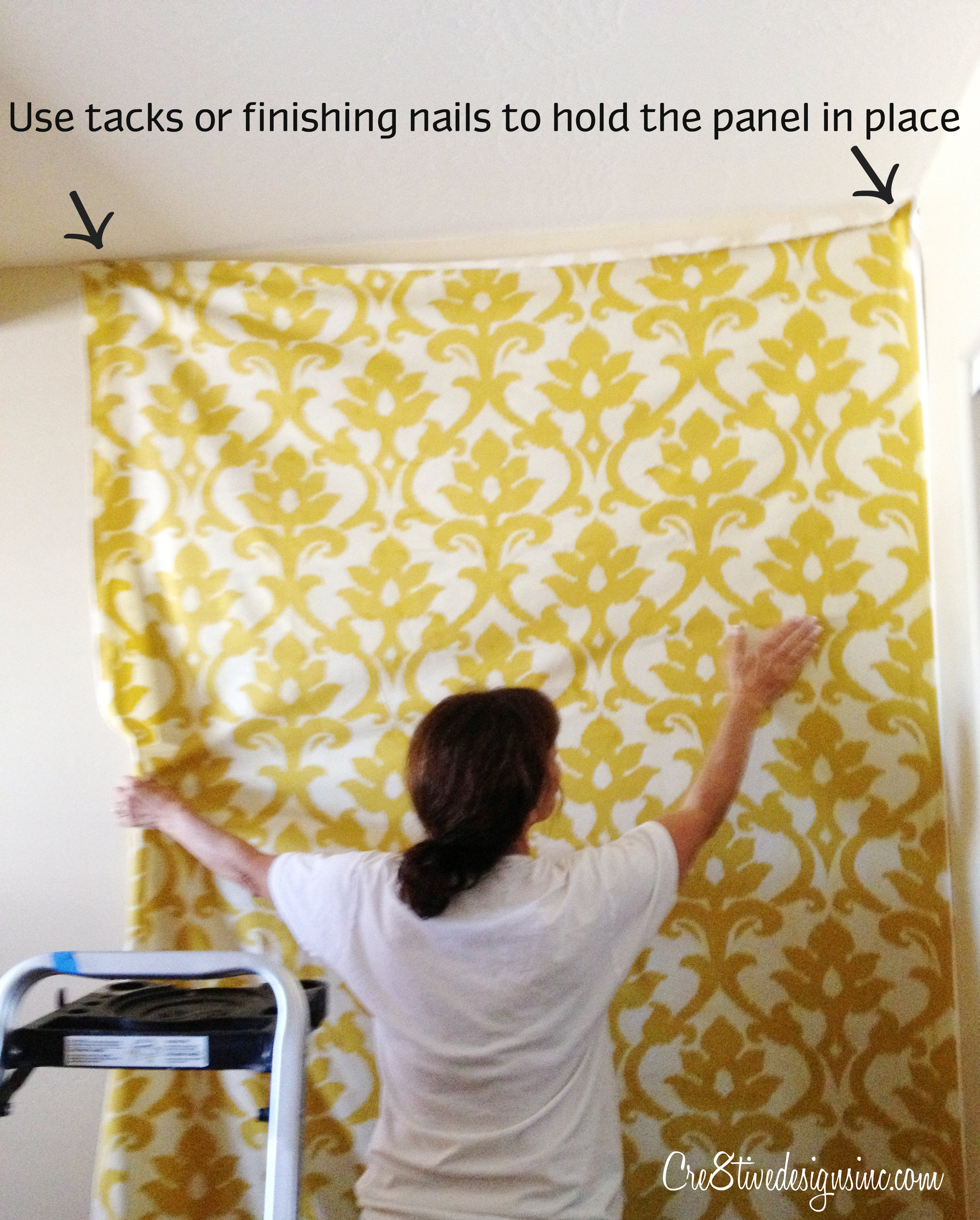 How to wallpaper with fabric using starch cre8tive - Ideas for covering wallpaper ...