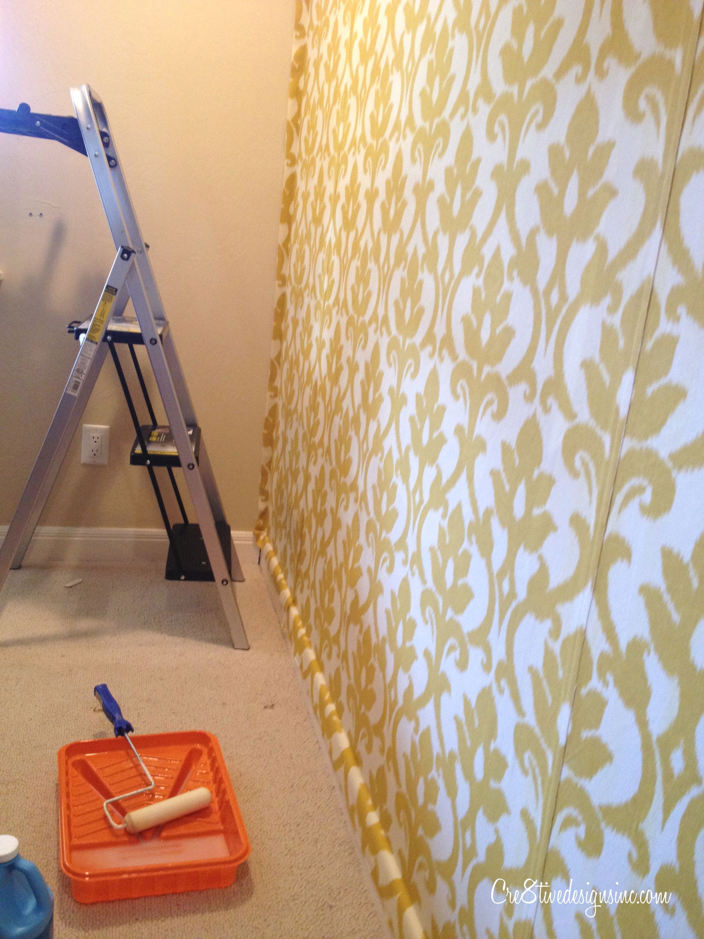 Fabric On Walls : How to wallpaper with fabric using starch cre tive