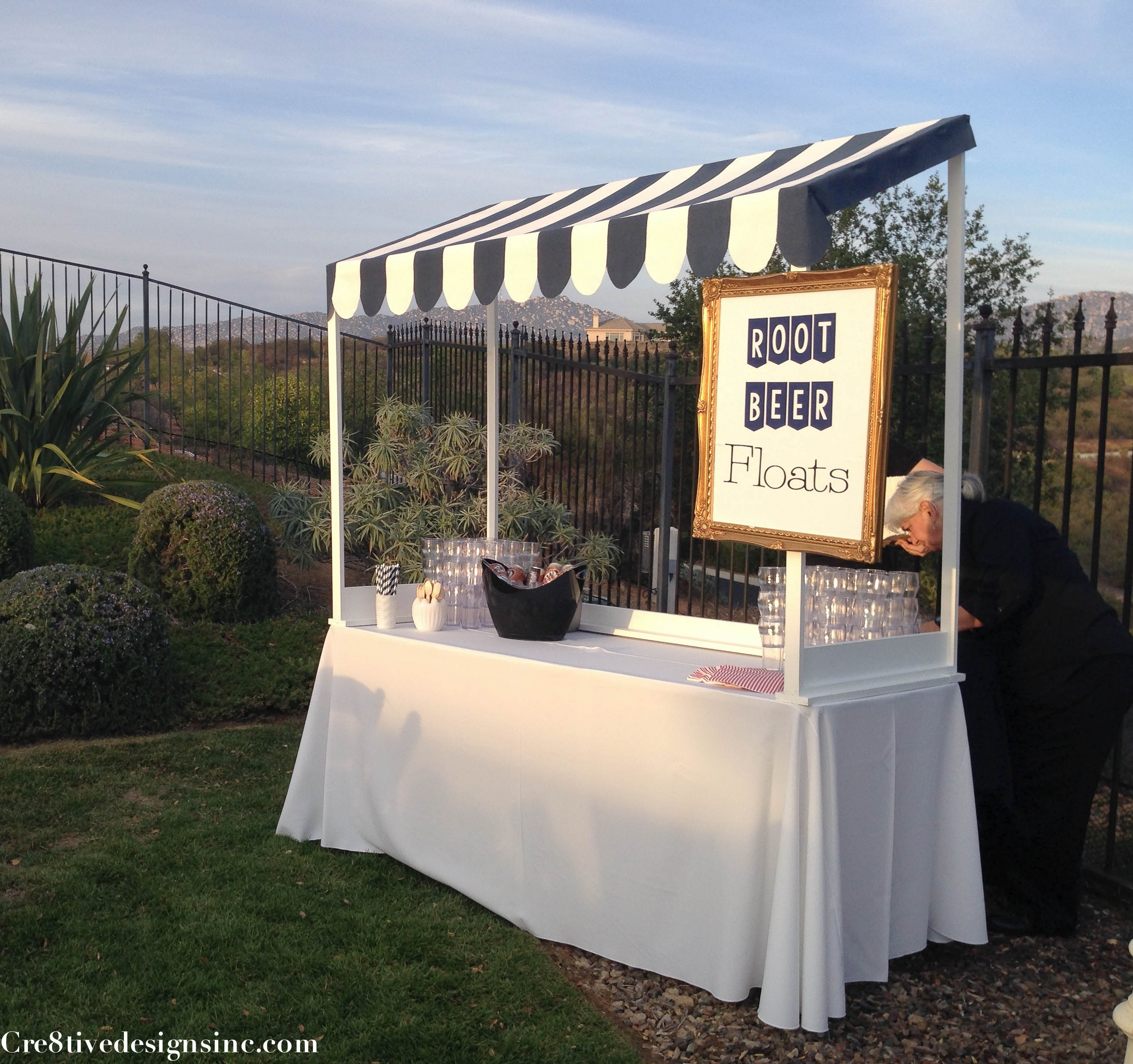 Root beer float station & How to build a table top canopy - Cre8tive Designs Inc.