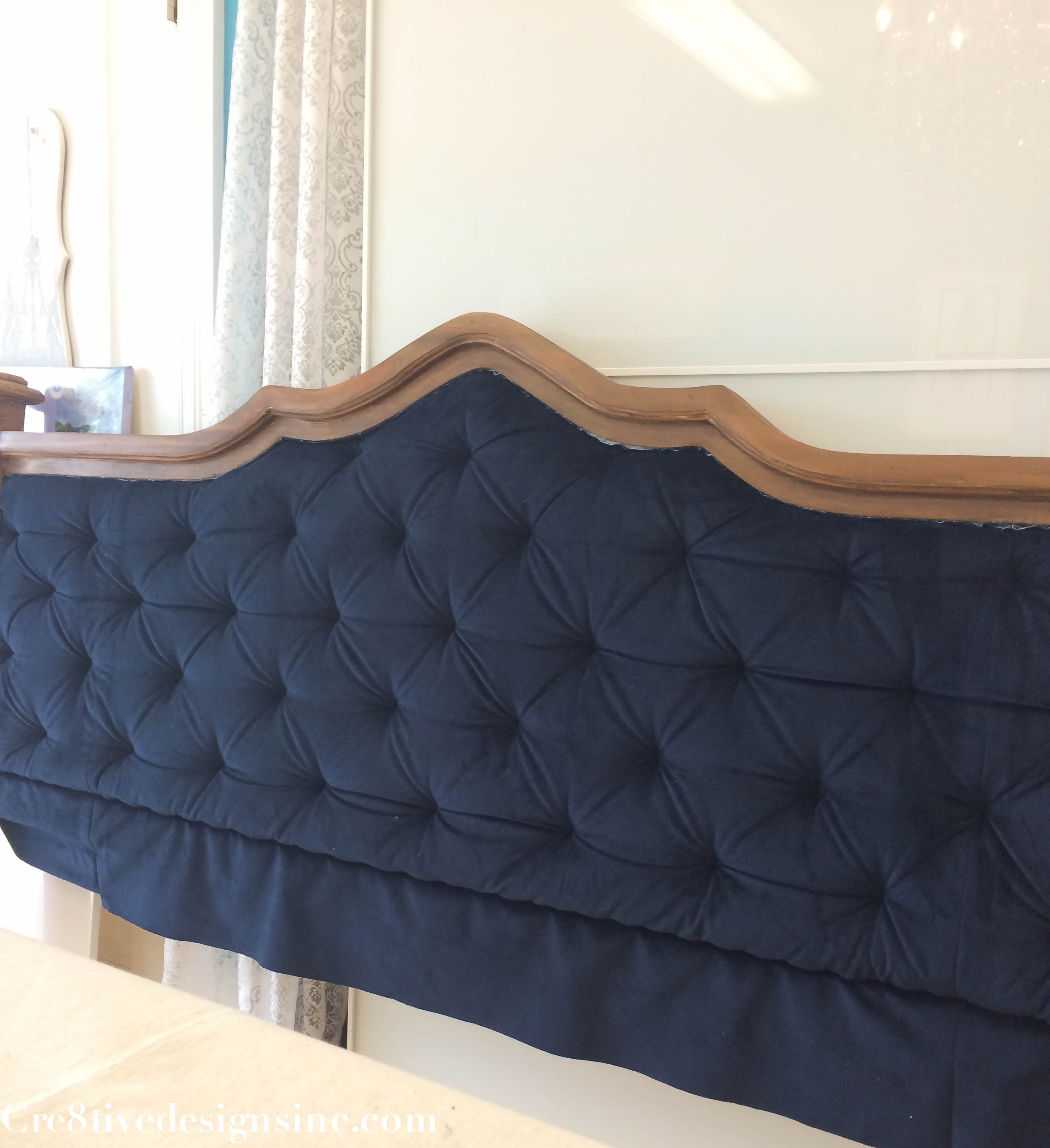 diy blue tufted headboard cre8tive designs inc. Black Bedroom Furniture Sets. Home Design Ideas