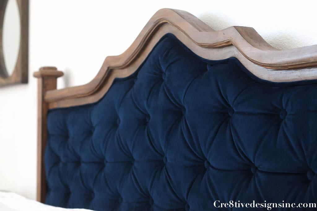 DIY blue tufted headboard - Cre8tive Designs Inc.