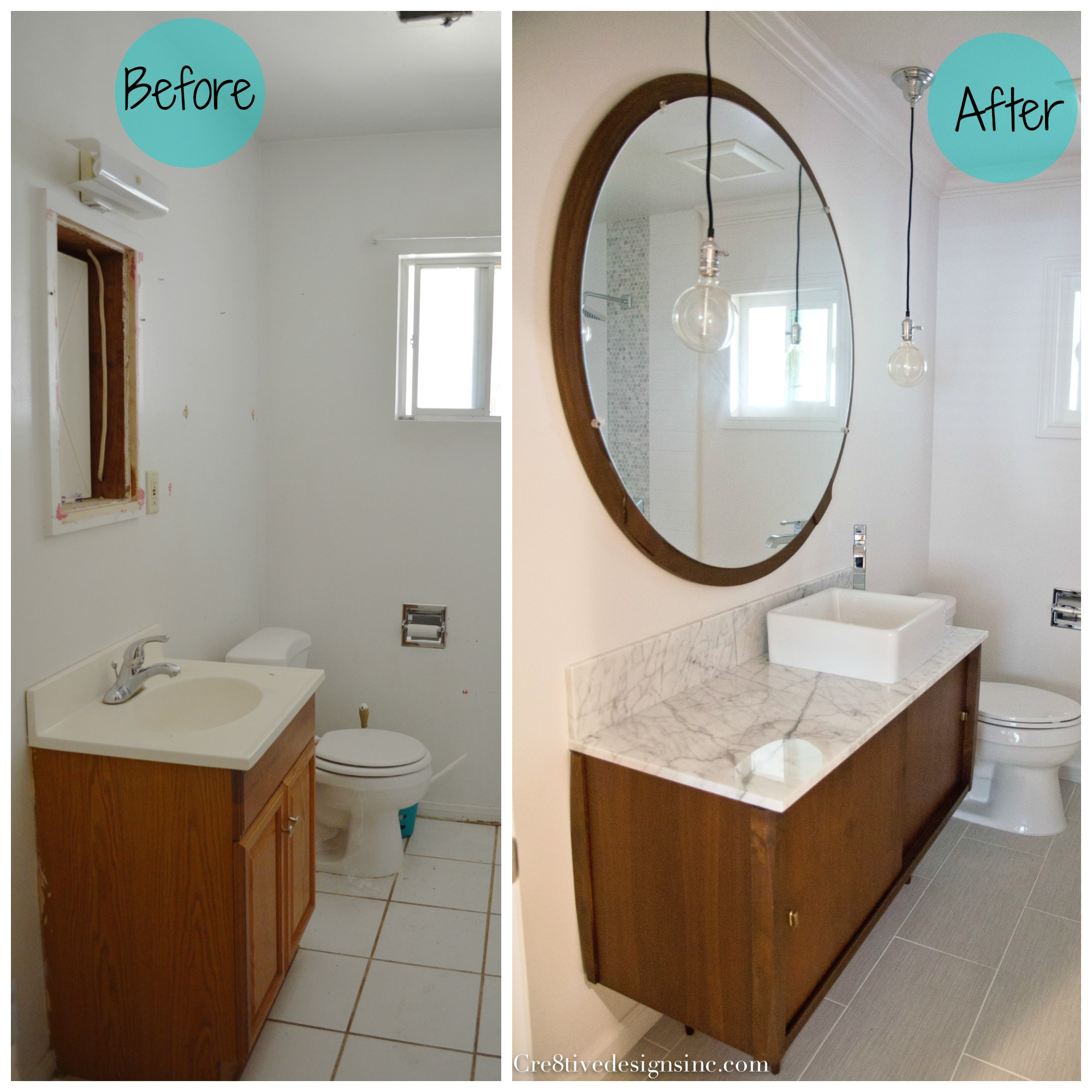 Nice before and after Mid century modern bathroom