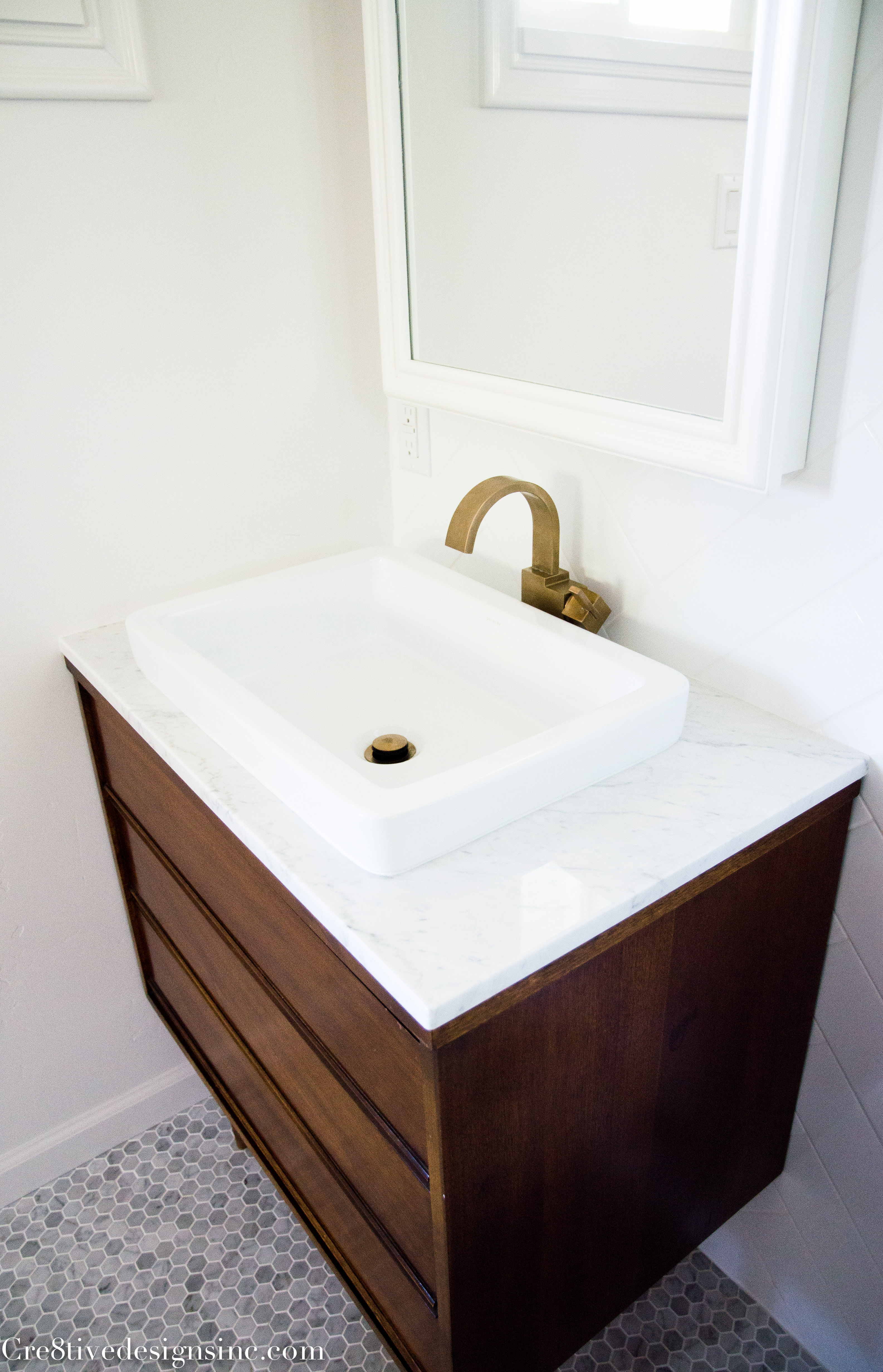 Designing a tiny bathroom cre8tive designs inc for Modern bathroom vanity designs