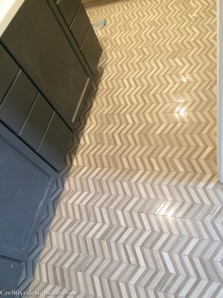 X  Herringbone Tile Floor Kitchen