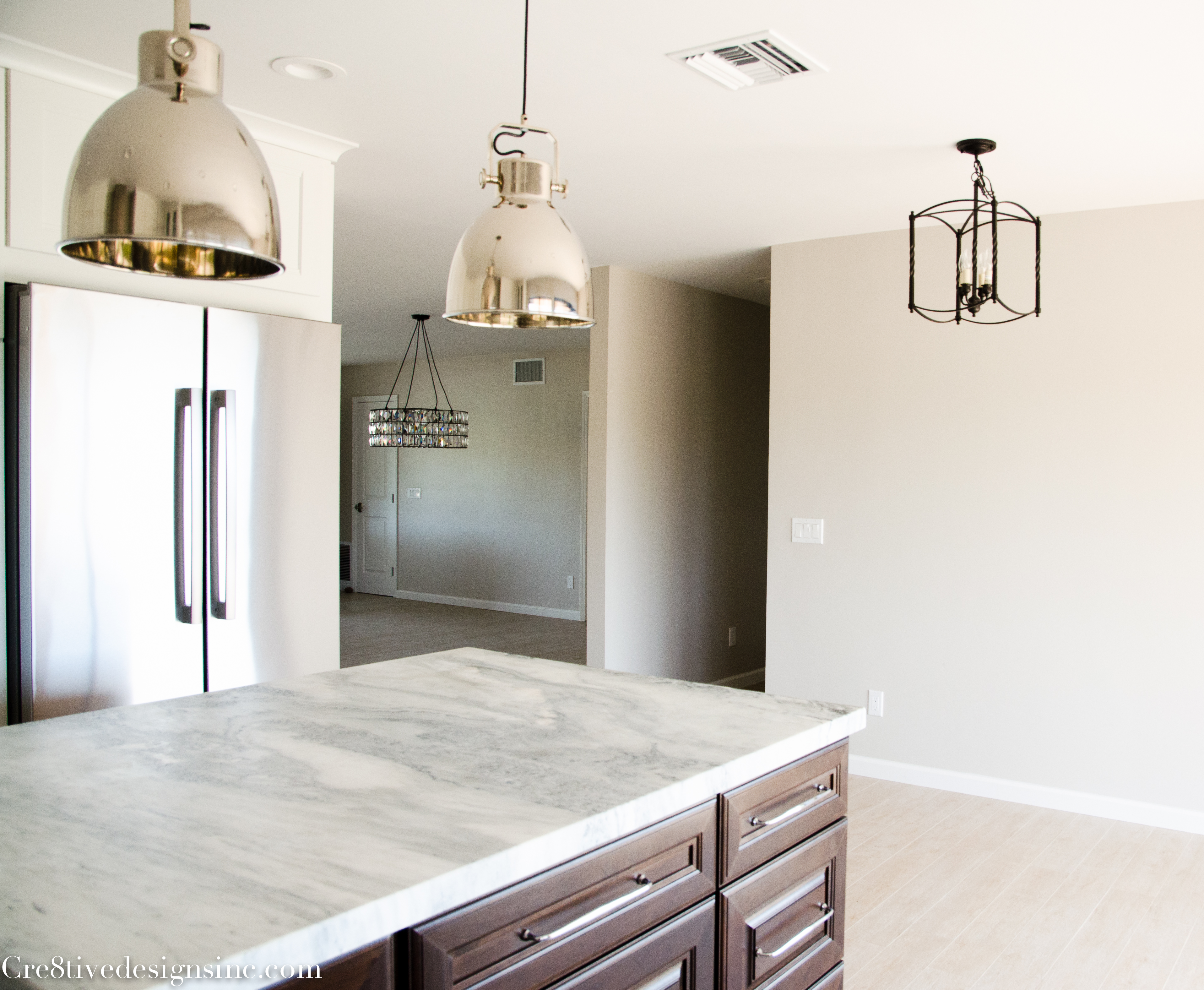 Trend Lighting in a remodeled kitchen