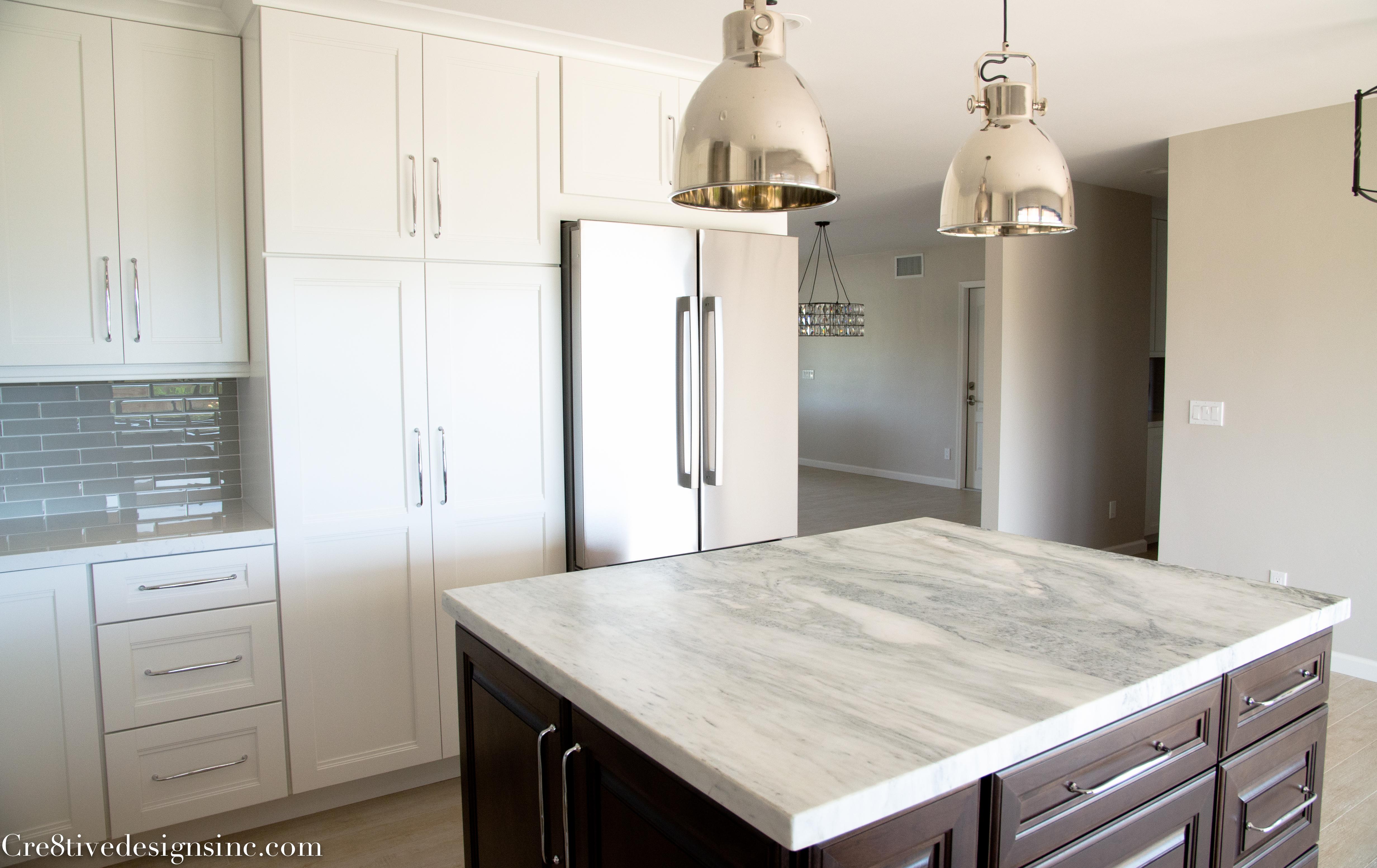 Fancy honed marble island countertop