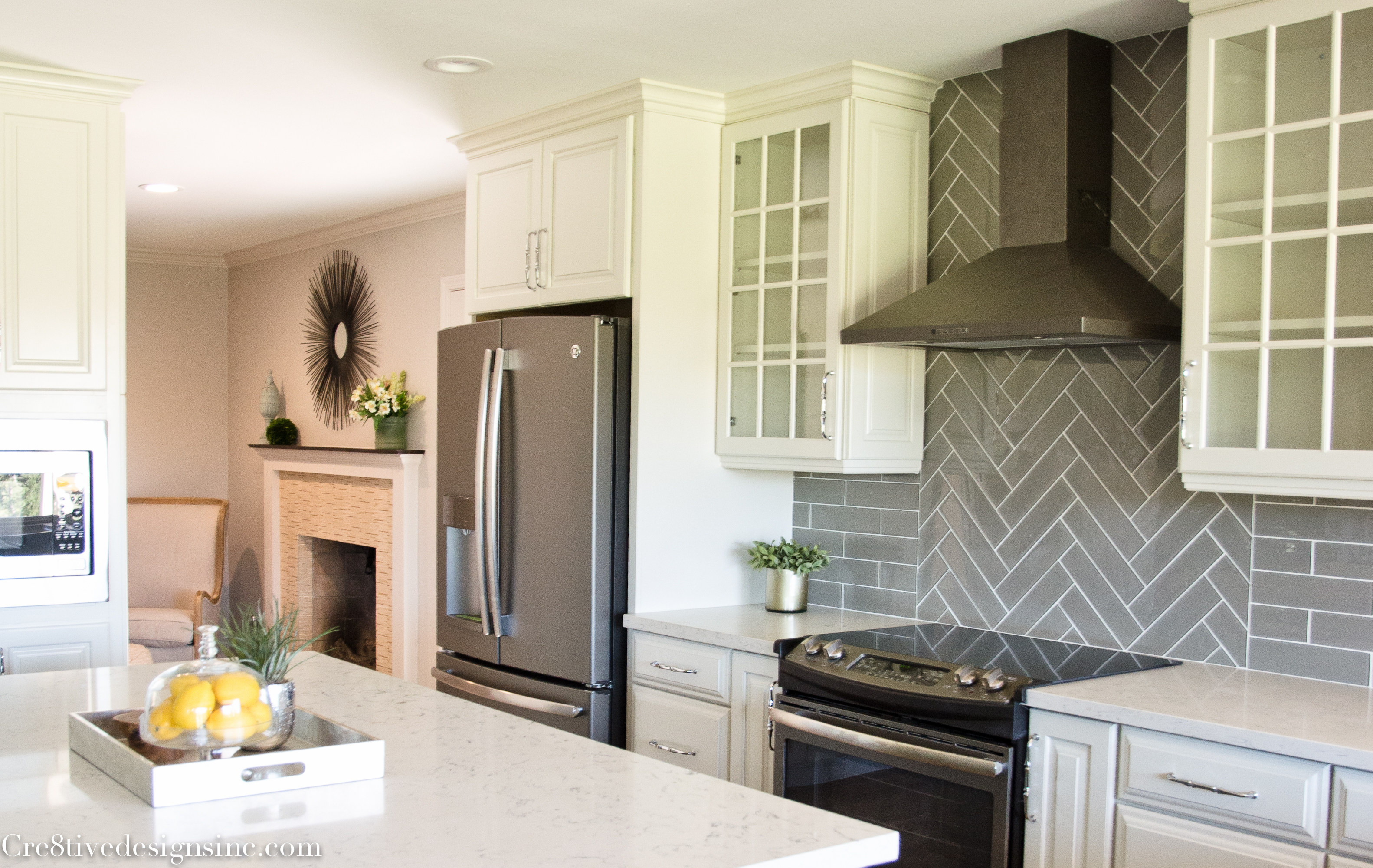 Slate Appliances With White Cabinets Home Design Ideas and