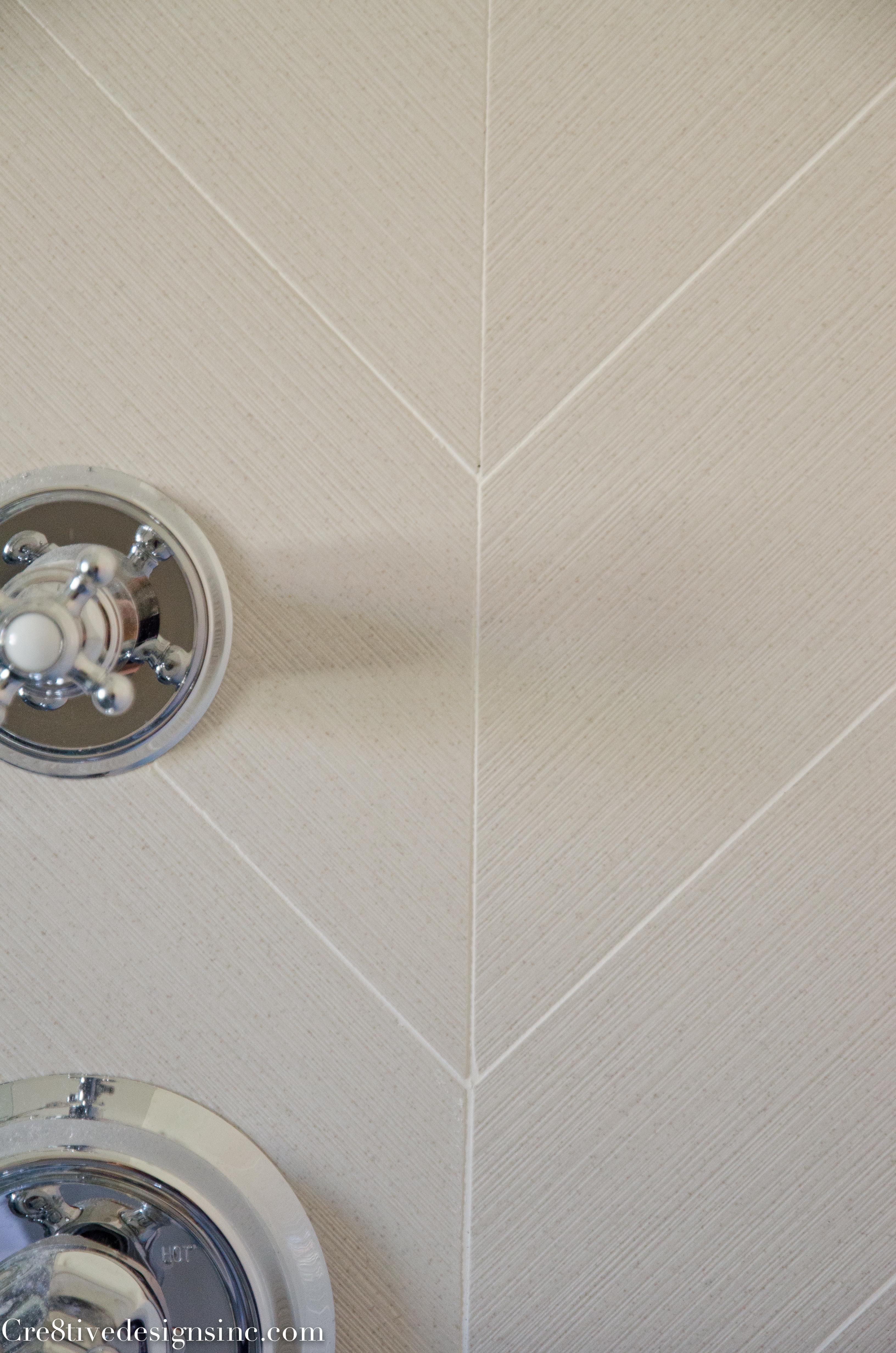 Fresh large chevron shower tile
