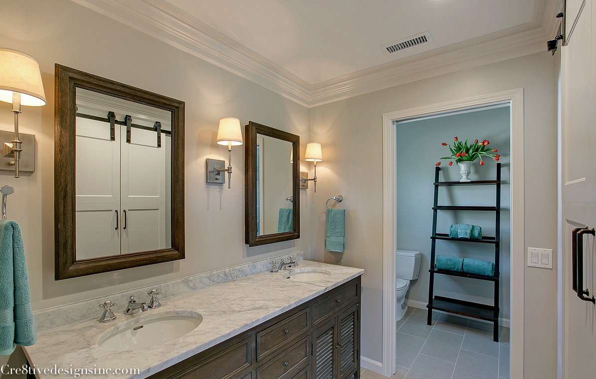 Luxury restoration hardware double shutter vanity and medicine cabinets